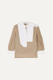 Loewe Cutout poplin-paneled striped cotton-blend shirt