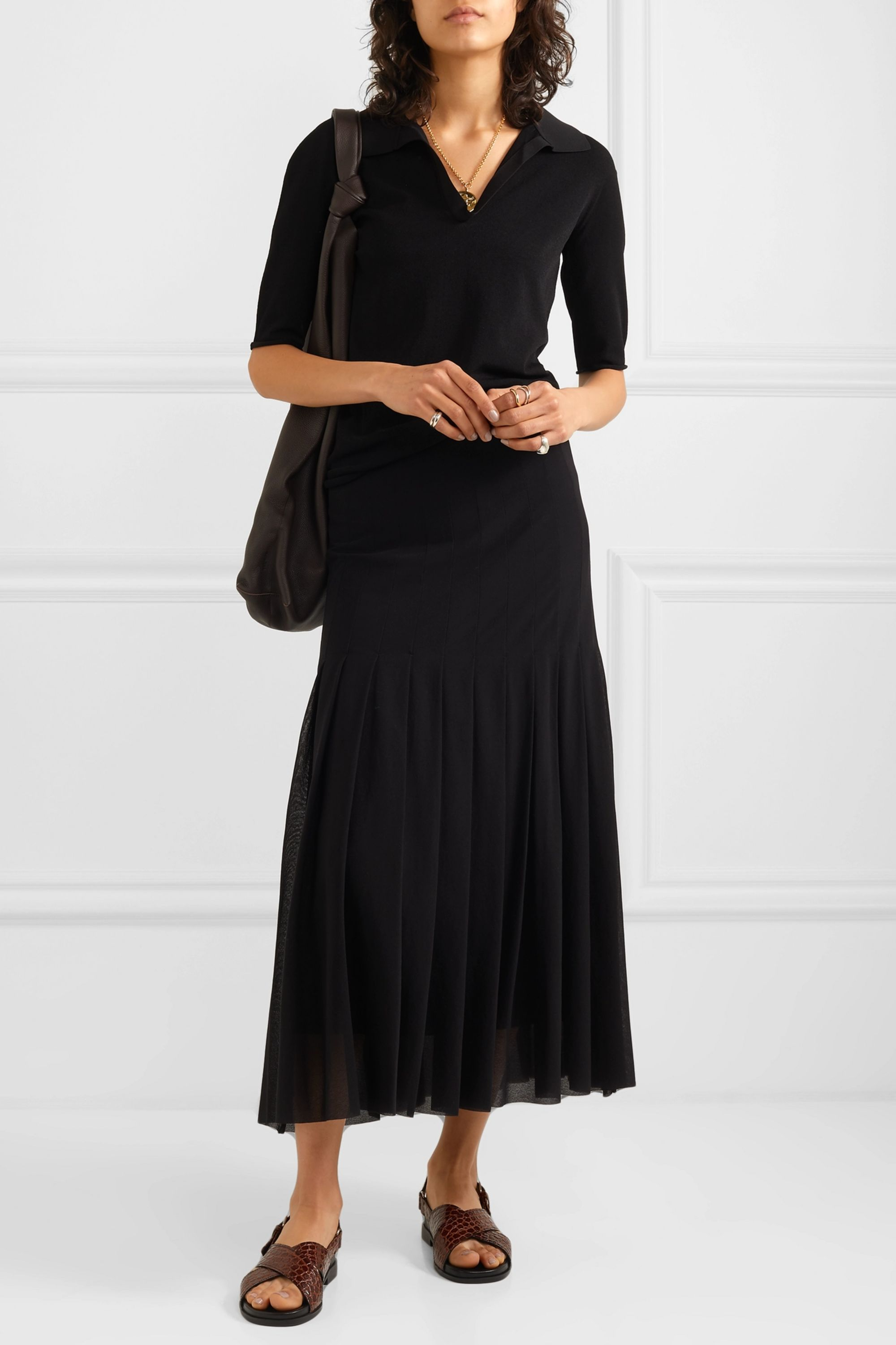 Jil Sander Pleated georgette midi skirt