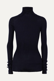 Jil Sander Ribbed cashmere and silk-blend turtleneck sweater