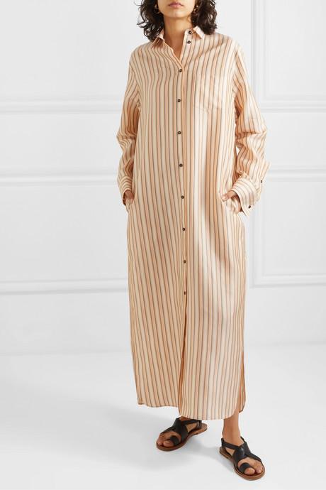 Striped twill maxi dress