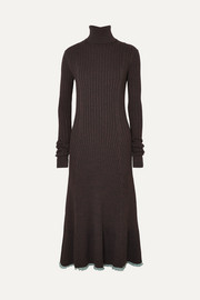 Two-tone ribbed fleece wool-blend turtleneck midi dress
