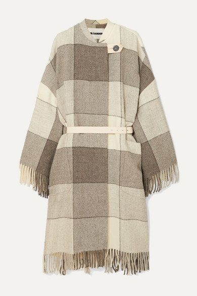 sale retailer 82812 a080f Belted fringed checked wool-twill coat