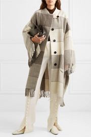 Jil Sander Belted fringed checked wool-twill coat