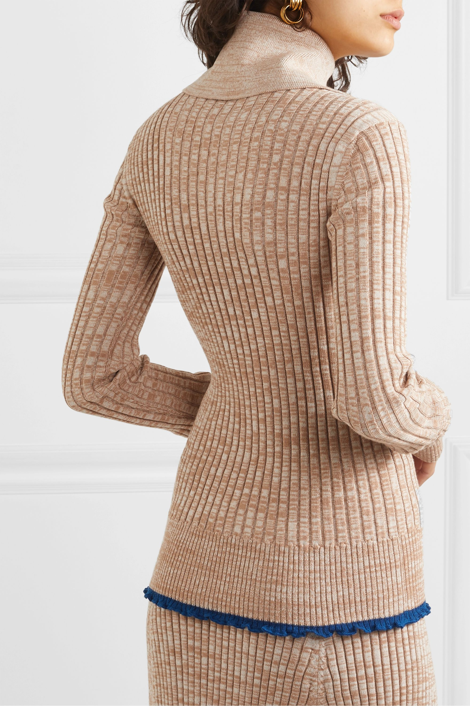 Jil Sander Ruffled ribbed mélange wool sweater