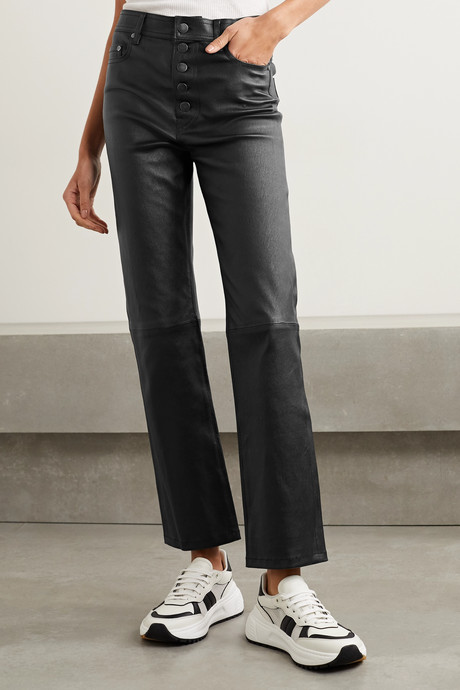 Den cropped leather straight-leg pants