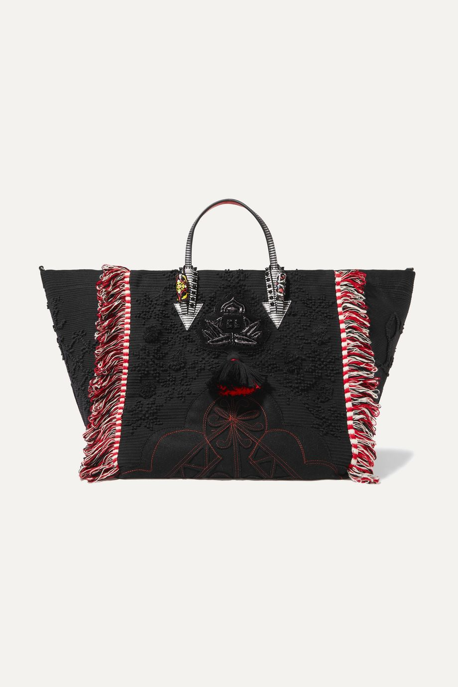 Christian Louboutin Portugaba fringed leather-trimmed canvas tote
