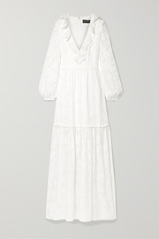 Alexis ruffled tiered fil coupé silk and cotton-blend chiffon maxi dress