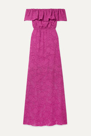 Clea ruffled off-the-shoulder fil coupé silk and cotton-blend chiffon maxi dress