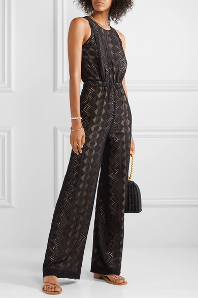 Roxane Embroidered Crepon Jumpsuit by Rachel Zoe