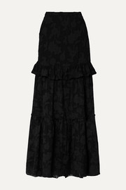 Lilith ruffled fil coupé silk and cotton-blend chiffon maxi skirt