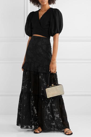 Lilith Ruffled Fil Coupé Silk And Cotton Blend Chiffon Maxi Skirt by Rachel Zoe