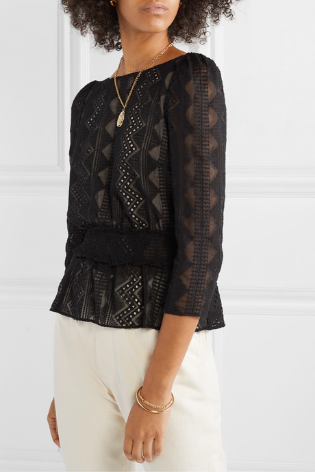 Peri smocked embroidered crepon blouse