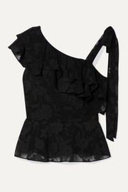 Katerina ruffled fil coupé silk and cotton-blend chiffon blouse