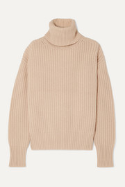 Pearl ribbed wool turtleneck sweater