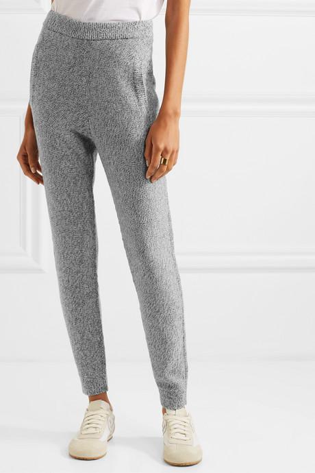 Mélange wool track pants