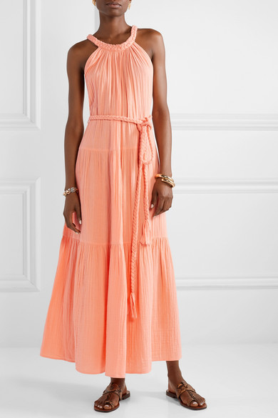 Belted Peach Maxi Dress