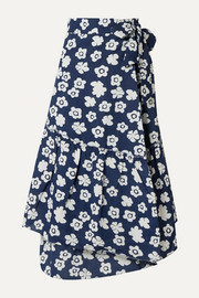 Iberia floral-print cotton and linen-blend wrap skirt