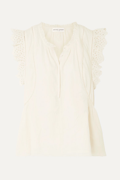 1c0c19588 Maria Del Mar Broderie Anglaise-Trimmed Cotton-Voile Top in Cream