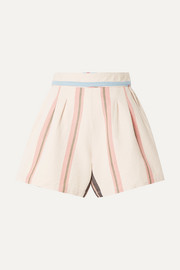 Maren striped cotton-canvas shorts