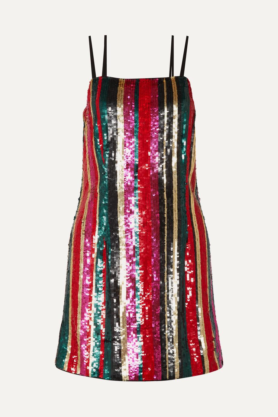 Haney Elektra striped sequined tulle mini dress