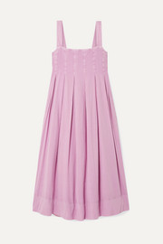 HATCH The Alice pleated shirred cotton-voile midi dress