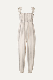 The JoJo smocked crinkled cotton-gauze jumpsuit