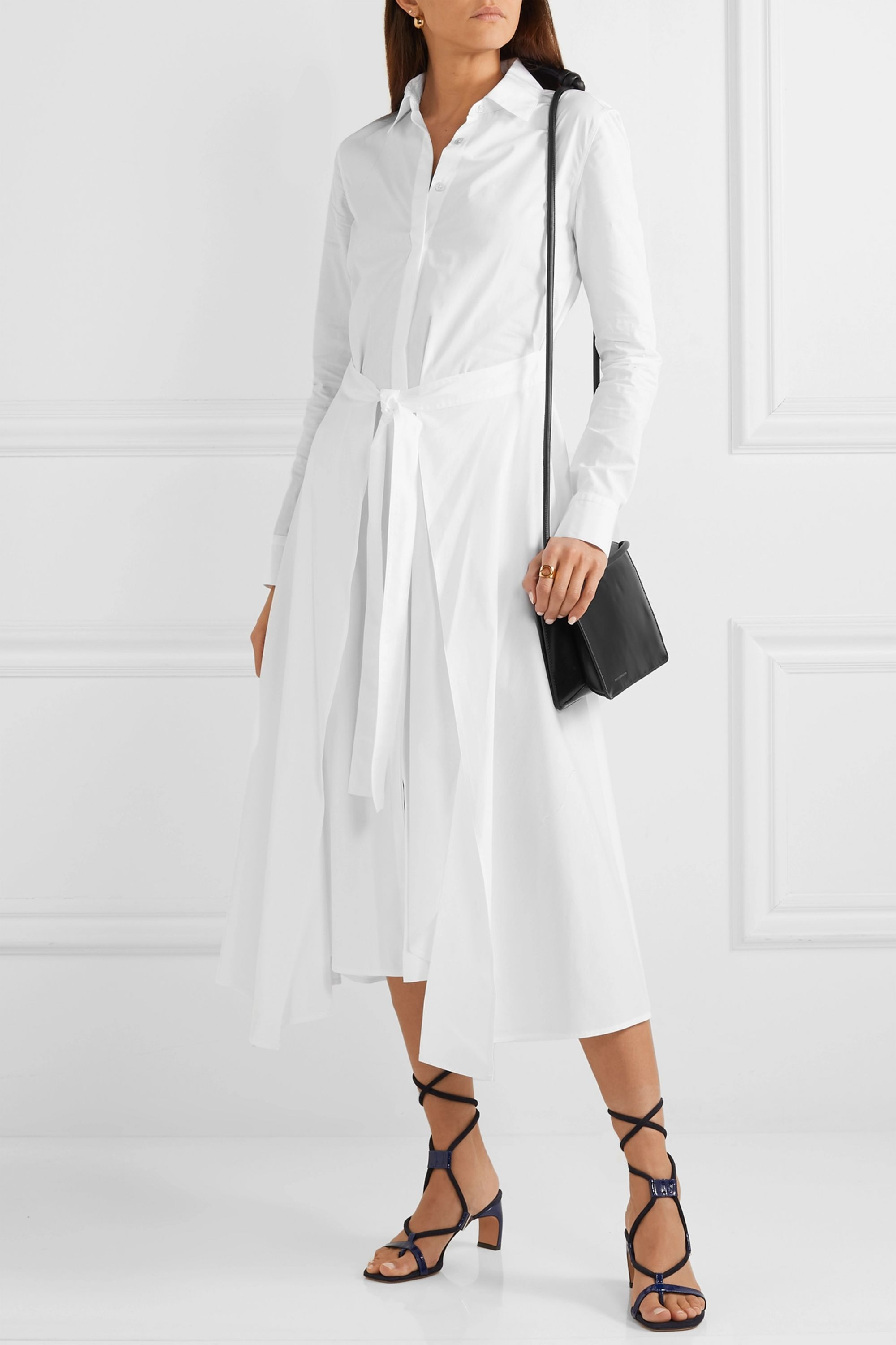 Rosetta Getty Apron wrap-effect cotton-poplin midi dress