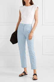 Cropped cotton-blend twill straight-leg pants