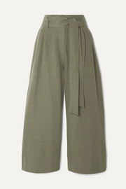 Co Cropped belted woven wide-leg pants