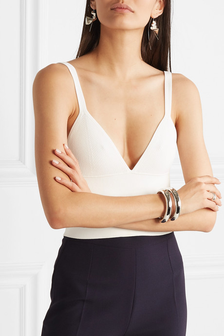 Density cropped ribbed-knit top