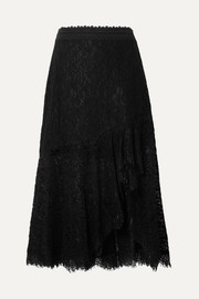 Alice + Olivia Olimpia crochet-trimmed asymmetric corded lace midi skirt