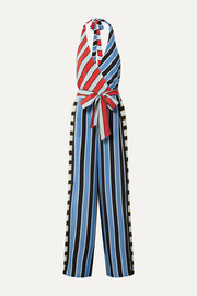 Keesha wrap-effect striped cupro halterneck jumpsuit