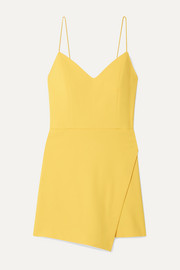 Emery wrap-effect crepe playsuit