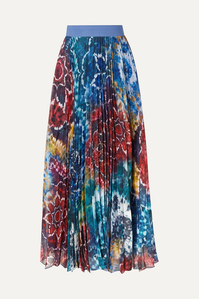 Shannon Pleated Printed Chiffon Maxi Skirt by Alice + Olivia
