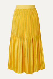 Alice + Olivia Ken pleated satin midi skirt