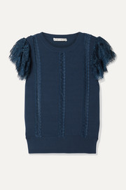 Rosio lace-trimmed knitted sweater