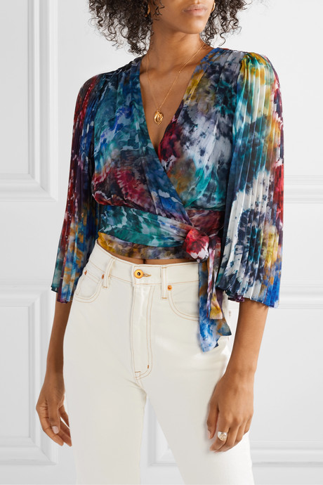 Bray pleated tie-dyed silk-georgette wrap blouse