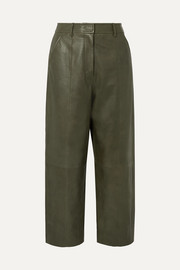 Jason Wu Fatigue cropped paneled leather straight-leg pants