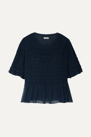 Jason Wu Smocked crinkled silk-chiffon top