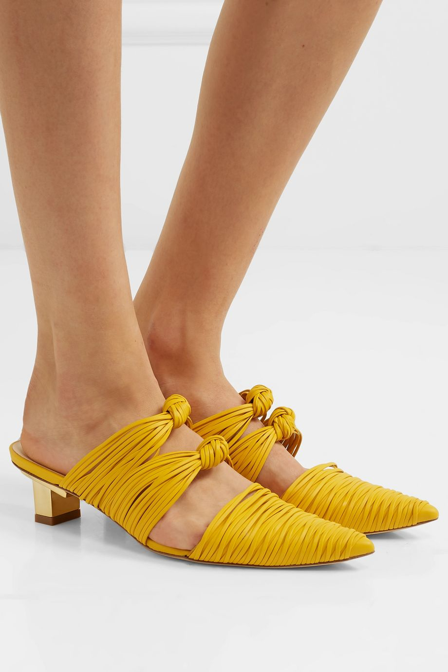 Cult Gaia Paige knotted leather mules
