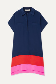 Diane von Furstenberg Hatsu paneled color-block silk crepe de chine mini dress