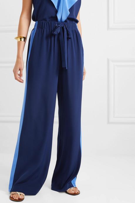 Ellington striped silk-crepe wide-leg pants
