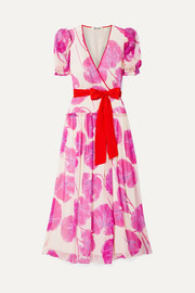 Diane von Furstenberg Ruffled printed crinkled silk-chiffon wrap maxi dress