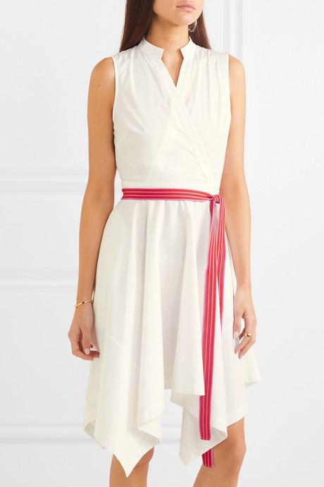 Marlene belted wrap-effect cotton-blend dress