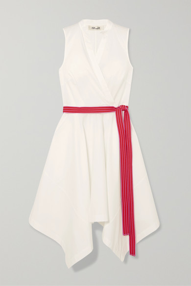 DIANE VON FURSTENBERG | Diane Von Furstenberg - Marlene Belted Wrap-Effect Cotton-Blend Dress - White | Goxip