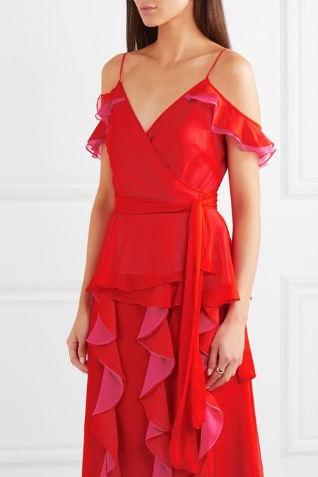 Kemma cold-shoulder silk-chiffon wrap top