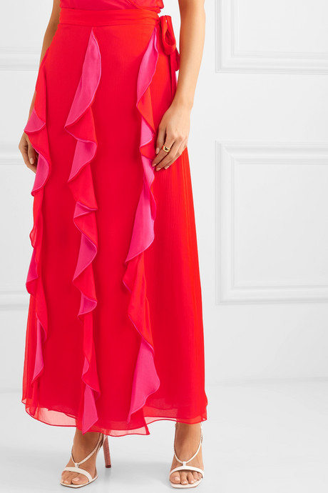 Salona ruffled silk-chiffon wrap skirt