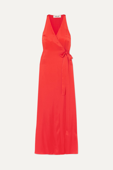 DIANE VON FURSTENBERG | Diane Von Furstenberg - Satin Wrap Gown - Red | Goxip