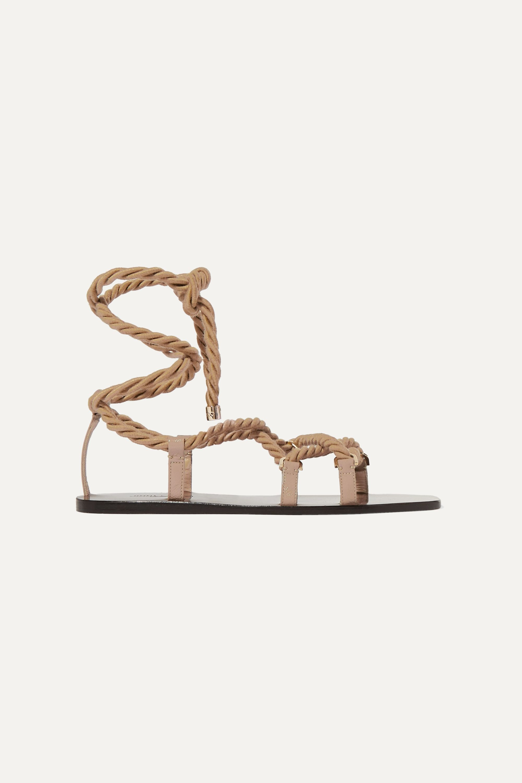 Jimmy Choo Aziza rope and glossed-leather sandals
