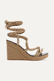 Jimmy Choo Allis 95 leather-trimmed rope wedge sandals
